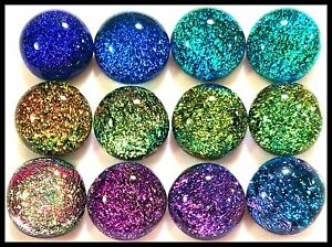 Lot of 12 SPLASH ASSORTED Fused Glass DICHROIC Cabochons NO HOLE Beads Flat Back