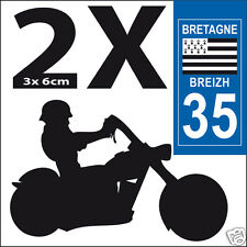 2 stickers autocollants style plaque immatriculation moto Département 35