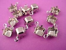 18 Silver Tone Square Prong Settings 6mm 1 Ring Closed Backs