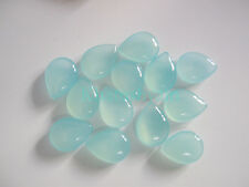 AAA 15 Pieces Aqua Chalcedony 9x13 MM Pears Briolettes Cabochon Loose Gemstone