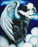 BOSTON TERRIER ANGEL 8x10 Dog Art PRINT of Original Oil Painting by VERN
