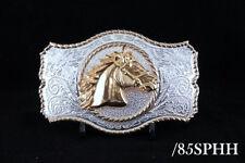 Western Design Cowboy Horse Head Belt Buckle 2 Tones Gold & Silver Color #85Sphh