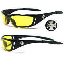 Choppers Bikers Mens Sunglasses - Black / Yellow Lens C46