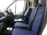 GREY - BLACK FABRIC SEAT COVERS TAILORED TO FIT FORD TRANSIT CUSTOM 2013 + RHD