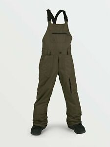2021 NWT YOUTH VOLCOM BARKLEY BIB OVERALL SNOWBOARD PANTS $170 M Black Military