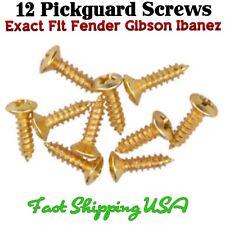 US 12 Gold Guitar Pickguard Screws.  Fits Fender® Strat® Tele® Ibanez® ESP® USA