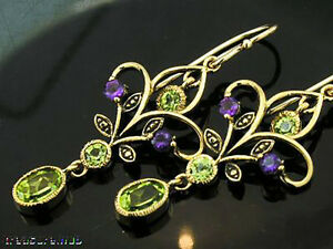 Genuine 9K Gold Natural Peridot & Amethyst Chandelier Filigree Drop Earrings