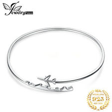 JewelryPalace 925 Sterling Silver Airplane Adjustable Open Bangle Bracelet