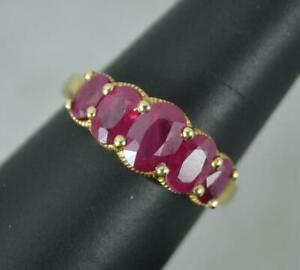 Ruby and 9 Carat Gold Five Stone Stack Ring