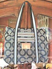 Coach Poppy Dark Blue Signature C Large Shoulder Bag Tote Handbag 13826 Glam