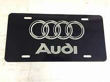 AUDI LOGO Car Tag Diamond Etched on Black Aluminum License Plate