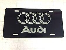 AUDI LOGO Car Tag Diamond Etched on Black Aluminum License Plate