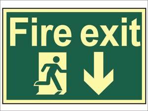 Scan - Fire Exit Running Man Arrow Down - Photoluminescent 300 x 200mm