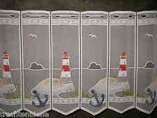 Edle Küchen-Scheibengardine 140 x 50 cm Insel Leuchtturm Anker Küste Maritim Bad