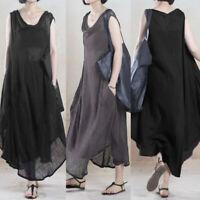 S-5XL ZANZEA Women Sleeveless Asymmetrical Shirt Dress Cotton Ethnic Tank Dress