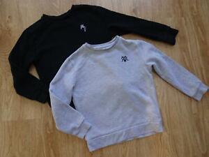 RIVER ISLAND boys 2 pack sweatshirt jumpers grey black AGE 7 - 8 YEARS