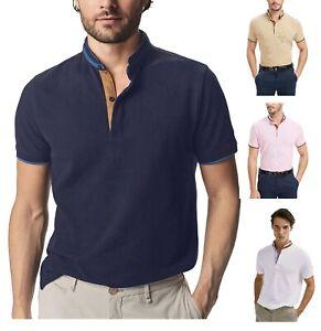 Men's Grandad Shirts Polo Shirt Short Sleeve Mandarin Regular Fit Pique