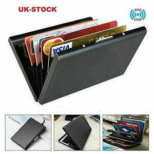 Blocking Black Metal RFID  Wallet Slim Anti-Scan Contactless Credit Card Holder