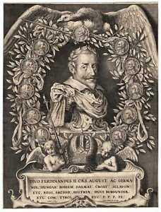 FERDINAND II - sehr schönes grosses Portrait Kupferstich von Galle 1619 Original