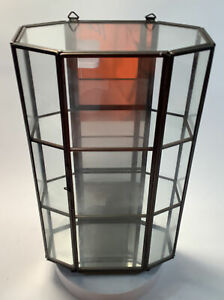 Vintage Curio Cabinet Glass Shelves Mirrored Back Wall Or Stand