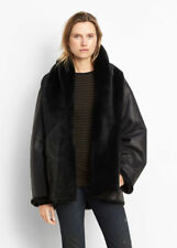 VINCE REVERSIBLE SHEARLING SHAWL COLLAR COAT in Black Size M (10-14) BNWT $2495