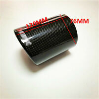 3 Inch Glossy Carbon Fiber Car Exhaust Muffler Tip Pipe Case End Pipe w/Logo 1x