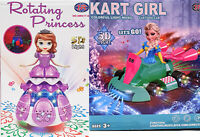 Frozen Princess Fairy Kids Doll Kart Car Bump & Go Led Light Music Song Rotating