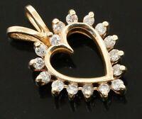 14K yellow gold elegant high fashion 0.24CT diamond open heart pendant