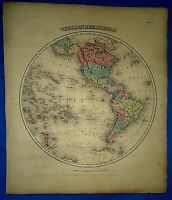 Vintage 1857 MAP ~ WESTERN HEMISPHERE ~ Old Antique Original Colton's Atlas Map