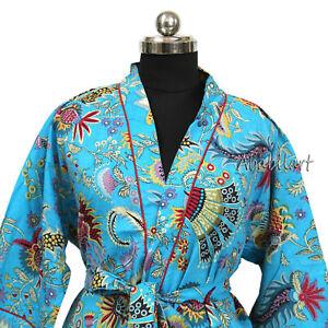 Cotton Robe Indian Floral Print Bathrobe Long Kimono Sleepwear Beach Robe FBB
