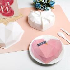 Large Silicone 3D Diamond Heart Shape Mold Fondant Cake Baking Tool Mould Decor