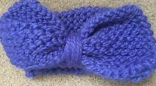 Blue Knitted Earwarmers Custome Made Large Bow Womens  slight pilling