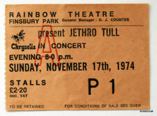 Concert Ticket Jethro Tull Rainbow Theatre November 17th 1974