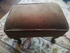 Vintage Brown Draylon Queen Anne Footstool
