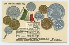 Mexico Coin Card with National Flag Vintage Embossed Postcard A4