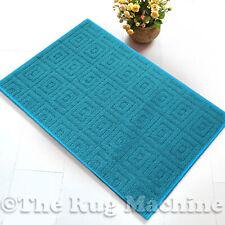 MAZE TURQUOISE BLUE SQUARES DESIGN NON SLIP MODERN FLOOR RUG MAT 67x140cm **NEW*