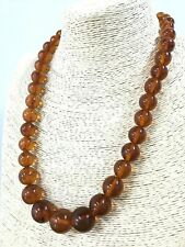 Vintage Old Natural BALTIC AMBER NECKLACE Polished Round Beads Ladies 55,1g 194S