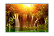 Waterfall Over Sunrise Landscape Poster Wall Prints Home Decoration Art Pictures