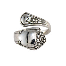 Solid 925 Sterling Silver Spoon Ring With Flowers Size 6-10