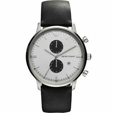 More details for emporio armani men's chronograph watch black ar0385