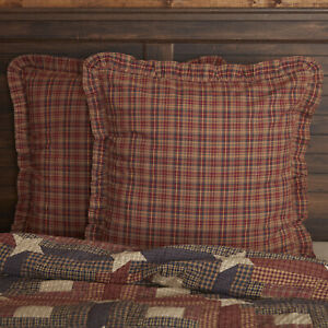 VHC Brands Rustic Euro Sham Red Parker Cotton Plaid Square Bedroom Decor