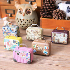 Tinplate Metal Suitcase Easter Trinket Candy Jewelry Coin Storage Box Case S&K