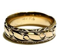 14k yellow gold womens fancy pattern comfort fit wedding band 5.2g estate ladies