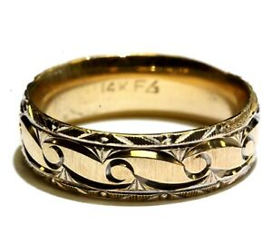 14k yellow gold womens fancy pattern wedding band 5.2g ring art deco 6mm size 7