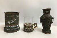 Vintage Antique Chinese Japanese Oriental Cloisonné Metal Vases And Cup