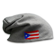 Slouchy Beanie for Men Puerto Rico Flag Embroidery Winter Hats Women Skull Cap