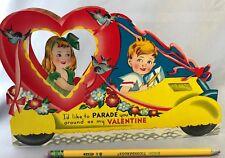 1940s Large 9 1/2-inch 3D Valentine Honeycomb Parade Float Auto Easlback Vintage
