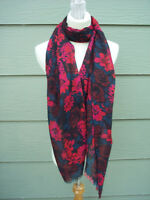 "Large Long Scarf Wrap 68"" x 29"" Red Black Green Floral Print"