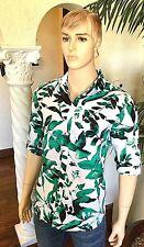 INC New L Men's Teal Green White Floral Hawaiian Style Linen Blend Shirt $69 NWT