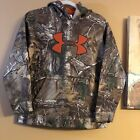 Under Armour Realtree Hoodie Youth Large Camo Hunting Sweatshirt Boys Big Logo